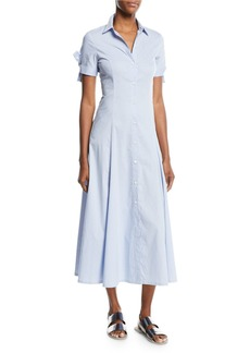 Theory Birch-Stripe Tie-Sleeve Shirt Dress