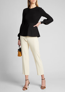 Theory Blouson-Sleeve Ribbed Pullover