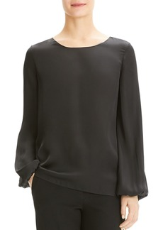 Theory Blouson-Sleeve Silk Top