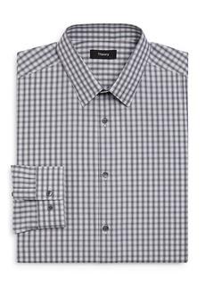 Theory Blurred-Grid Slim Fit Dress Shirt