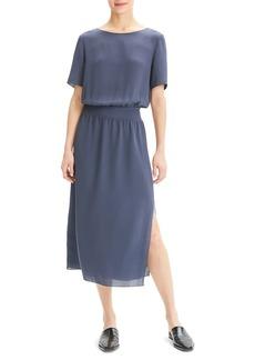 Theory Boat-Neck Short-Sleeve Silk Chiffon Midi Dress w/ Rib Waistband