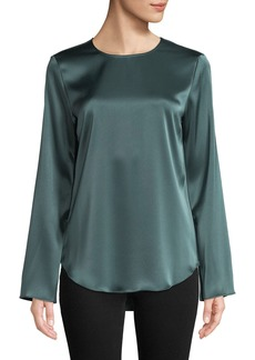 Theory Bringam Flat-Sateen Long-Sleeve Top