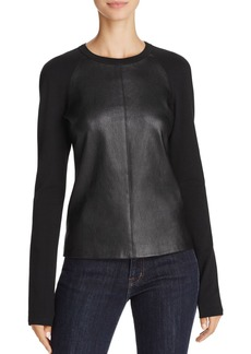 Theory Bristol Leather & Knit Raglan Top