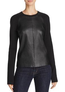 Theory Bristol Leather & Knit Raglan Top