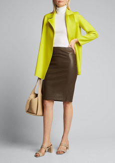 Theory Bristol Leather Skinny Pencil Skirt