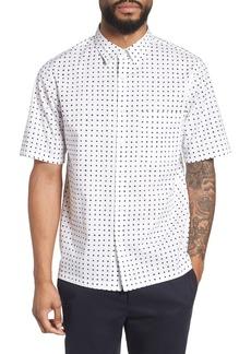 Theory Bruner Trim Fit Dot Short Sleeve Sport Shirt