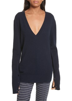 Theory Button Sleeve Cashmere Sweater