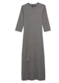 Theory Button Slit Stretch Cotton Knit Dress