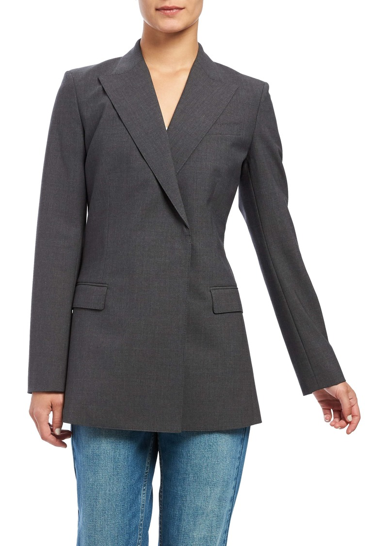 Theory Buttonless Double-Breasted Stretch Good Wool Blazer
