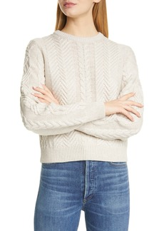Theory Cable Wool & Cashmere Crop Sweater