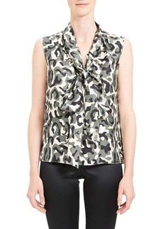 Theory Camo Print Tie Neck Sleeveless Silk Blouse