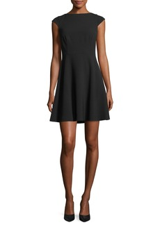 Theory Cap-Sleeve Tieback Admiral Crepe Mid-Thigh Dress