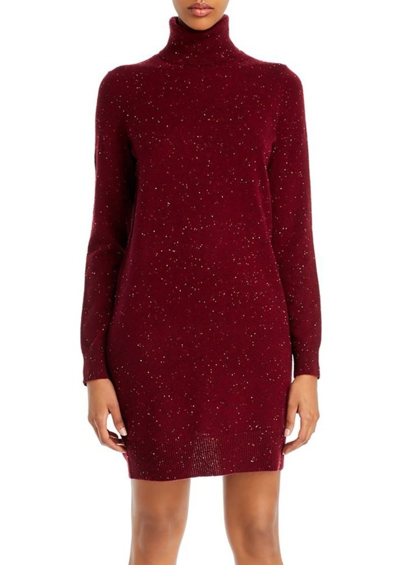 Theory Cashmere Donegal Knit Turtleneck Sweater Dress