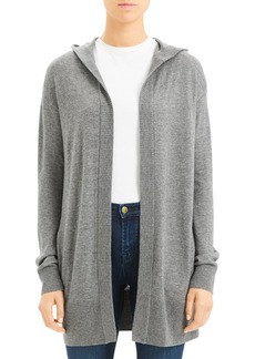 Theory Cashmere Hooded Open Front Cardigan