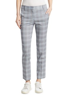 Theory Checkered Straight-Leg Wool Trousers