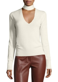 Theory Choker Collar V Front Cashmere-Silk Sweater