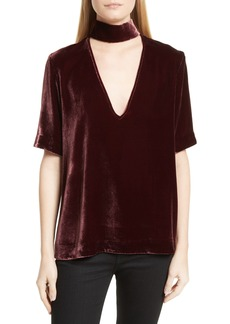 Theory Choker Collar V-Neck Velvet Top