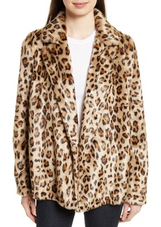 Theory Clairene Leopard Print Faux Fur Coat