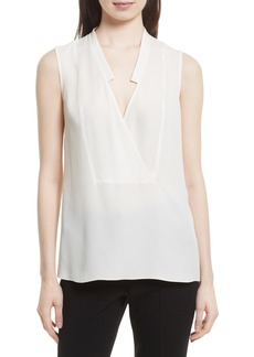 Theory Classic Crossover Sleeveless Silk Top