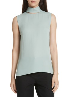 Theory Classic Slit Collar Silk Top