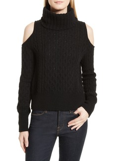 Theory Cold Shoulder Cable Knit Sweater