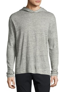 Theory Colton Zephyr Melange Linen Pullover Hoodie