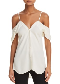 Theory Convertible Cold-Shoulder Silk Shirt