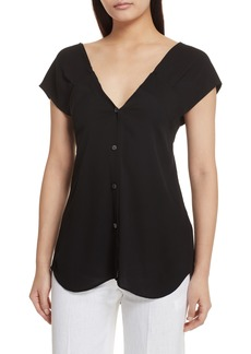 Theory Convertible Neck Silk Georgette Top