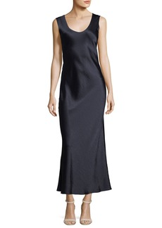 Theory Cowl-Back Sleeveless Double-Sateen Midi Dress