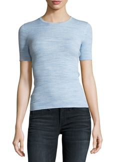 Theory Crewneck Fitted Refine Merino Wool  Top