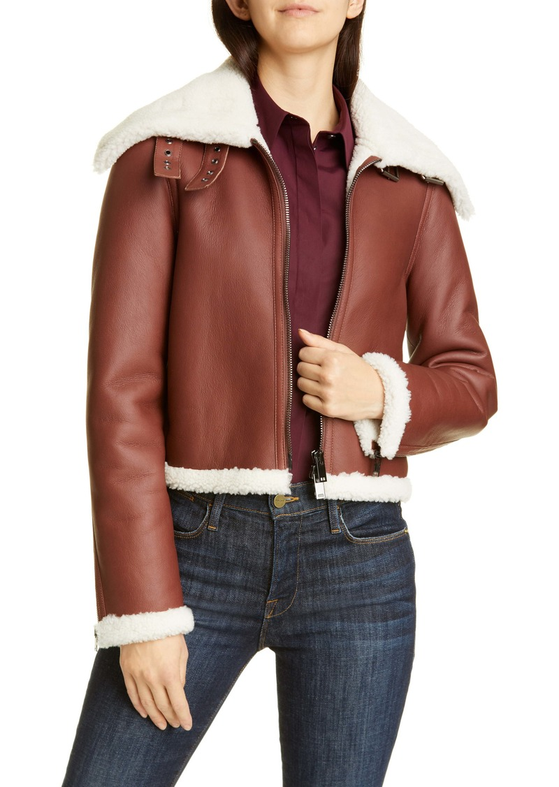 Theory Crop Genuine Shearling Jacket