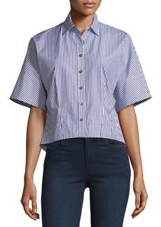 Theory Cropped Button-Down Hartman Striped Shirt
