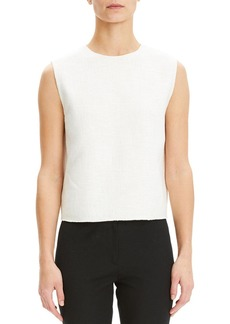 Theory Cropped Sleeveless Linen-Blend Shell