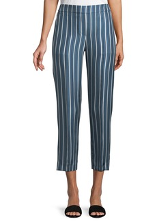 Theory Darby Striped Silk Pull-On Pants