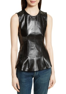 Theory Darted Paper Leather Mix Media Top