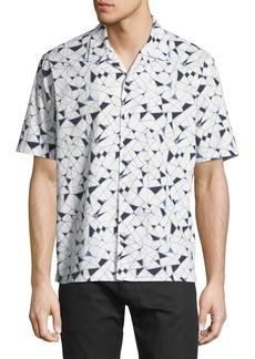 Theory Daze Geometric-Print Short-Sleeve Sport Shirt