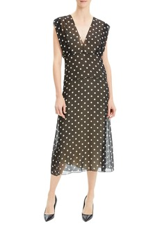 Theory Deep V Dot-Print Sleeveless Silk Midi Dress