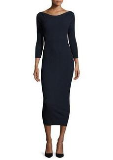 Theory Delissa C Prosecco Ribbed Midi Dress