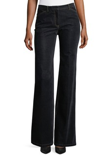 Theory Demitria 2 Flared-Leg Velvet Denim Jeans