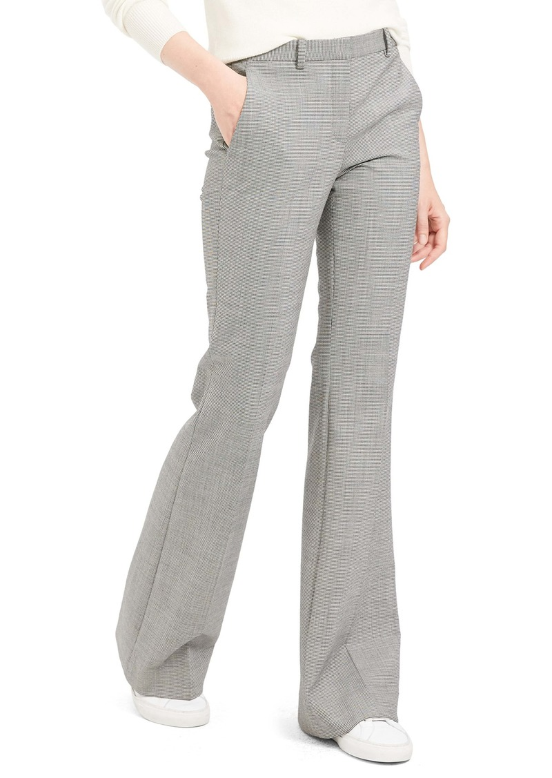 Theory Demitria 4 Houndstooth Flare Leg Stretch Wool Pants