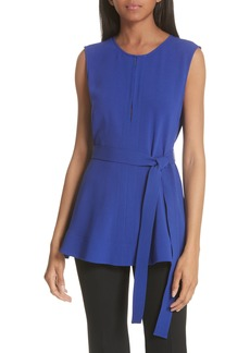 Theory Desza Elevate Tie Waist Crepe Blouse