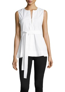 Theory Desza Stretch-Cotton Belted Peplum Top