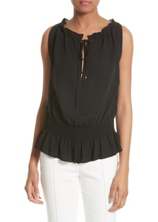 Theory Dezzie Silk Georgette Top