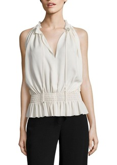 Theory Dezzie Smocked Silk Georgette Blouse