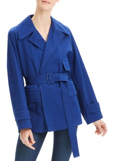 Theory Diagonal Twill Belted Utility Trench Coat