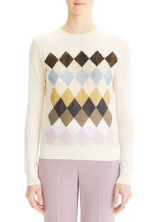 Theory Diamond Pattern Linen Blend Sweater