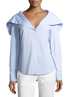Theory Doherty Wide-Collar Shirt