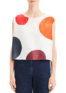 Theory Dot Boxy Silk Top
