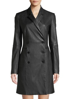 Theory Double-Breasted Bristol Leather Blazer Dress