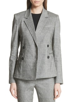 Theory Double Breasted Linen Blend Suit Jacket
